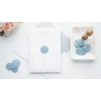 Floral Monogram Vellum and Wax Seal Wedding Invitation - DEPOSIT