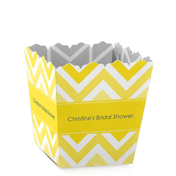 Chevron Yellow - Personalized Bridal Shower Candy Boxes