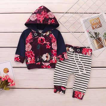 Madison's Floral Striped Hoodie 2 pc Set
