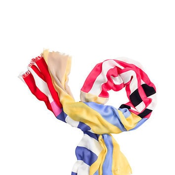 Kate Spade Multi Stripe Oblong Scarf Multi ONE