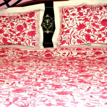 Pink Bedspread Embroidered/Pink Bedding/Bed Cover/Duvet Cover/Embroidered Bedding/doona cover/Pink Wedding/shabby chic/Quilt Cover/Cotton