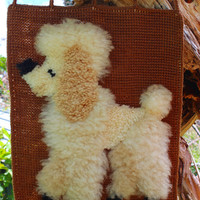 Vintage Handmade Finished Latch Hook Rug Wall Hanging Shag Rug Picture wall picture Dog Picture Poodle wall decoration Yarn Picture