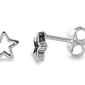 Sterling Silver Star Cut Out Stud Earrings