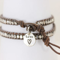 Silver Nugget 2 Wrap Bracelet with Hand Forged Sterling Silver Heart Love Pendant - Christina Guenther