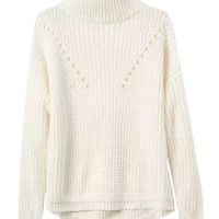 White High Neck Long Sleeve Knit Jumper