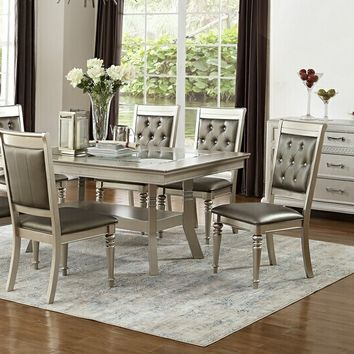7 pc silverstry collection silver tone finish wood dining table set with glass top