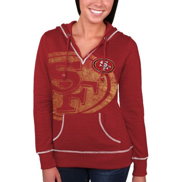 San Francisco 49ers Majestic Women's Cross Block Pullover Hoodie - Scarlet