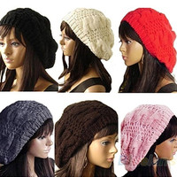 Fashion Women's Lady Beret Braided Baggy Beanie Crochet Hat Ski Cap Knitted = 1645841796