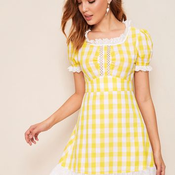 Lace Insert Ruffle Trim Gingham Dress
