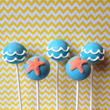 12 Ocean Wave and Starfish Cake Pops for Beach Party Favor, Summer, Mermaid, Pirate, Luau, Surfer Girl, Birthday, Destination Wedding Shower