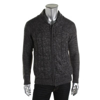 Weatherproof Vintage Mens Cable Knit Zip Front Cardigan Sweater