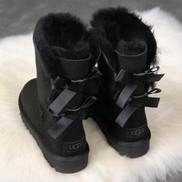 UGG : girl Large bow tie Keep warm Snow boots-1