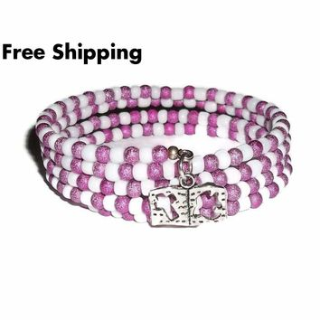 Bible Hot Pink Stardust and White Glass Beaded Artisan Crafted Wrap Bracelet (XS - M)