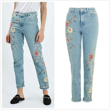 Embroidery Vintage Floral Women's Fashion Slim Pants Jeans [10203233543]