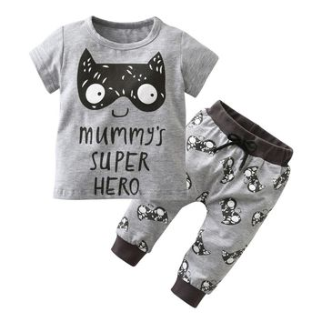 New 2018 Summer Baby Boy Clothing Set Newborn Toddler Short sleeved Cartoon Little Monsters and lions T-shirt+Pants Baby Clothes