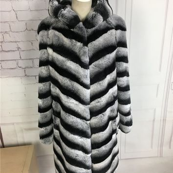2017 New winter Chinchilla Rex Rabbit Fur Coat with hood  Medium-Long Overcoat Genuine fur coat