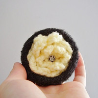 Upcycled flower brooch made from knitted sweater and crocheted flower Yellow and black