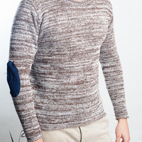 Sweater Wool V2 Mod. Beige with Blue Patch