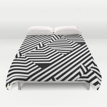 Trendy Black and White Graphic Stripes Duvet Cover by PTK Designs