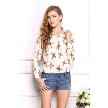 Women Red Lips Leopard Printed Blouse Long Sleeve Fashion Casual Shirts Women Summer Spring Autumn Tops