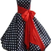 50's style dress with black and white spots