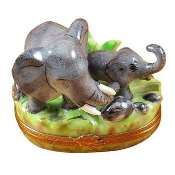 Elephant and Baby Limoges Box