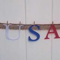 4th of july decor, independence day, red white blue banner, american flag banner, usa banner