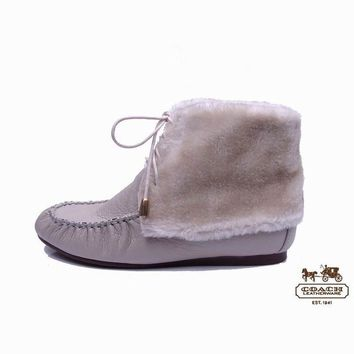 Coach Women Fashion Leather Fur Snow Boots Flats Shoes3