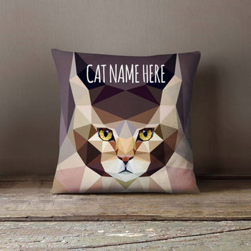 Personalized Geometric Main Kun Cat Pillowcase | Decorative Throw Pillow Cover | Cushion Case | Designer Pillow Case | Gift for Pets Lovers