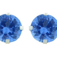 2 Carat Tanzanite Round Stud Earrings .925 Sterling Silver Rhodium Finish