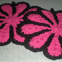 Crochet Pot Holders - Hot Pink and Black
