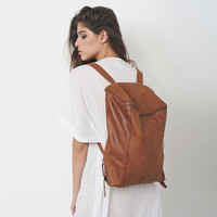 Brown Leather Backpack, Laptop Bag, Travel Bag, School Bag, Honey Brown Leather Bag, Handmade
