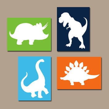DINOSAUR Wall Art Canvas or Prints Boy DINOSAUR Nursery Baby Boy Nursery Wall Art Boy Bedroom Pictures Boy Boy Artwork DINO Set of 4 Decor