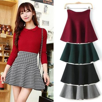 PEAPIX3 Red/Gray/Black/Green/Plaid Skirts New 2015 Spring Winter Ladies Fashion Casual High Waist Kintted Pleated Women Skirt = 1945918404