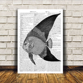 Fish poster Nautical art Dictionary print Modern decor RTA3