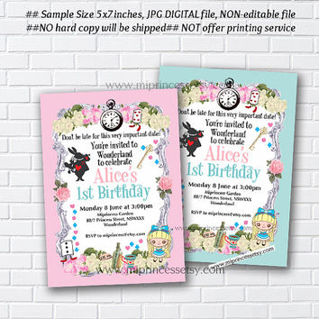 Alice in wonderland invitation, Alice Mad tea party first birthday invitation, 1st 2nd 3rd 4th 5th 6th 7th 8th 9th 10th - card 877