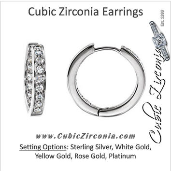 Cubic Zirconia Earrings- 0.80 Carat Round Cut Inside/Outside Hinged Hoop Earring Set