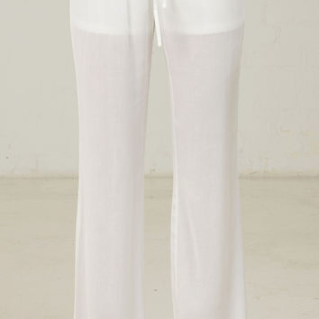 Simple Drawstring Gauze Pants - White