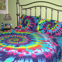 Sweet Dreams Spiral Tie Dye 100% Organic Cotton Sheet Set Full Size