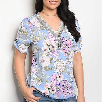Sky Blue Floral Plus Top Blouse Shirt Rhinestone Mesh Relaxed Fit Casual Summer
