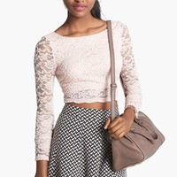 Haute Society Long Sleeve Lace Crop Tee (Juniors) (Online Only) | Nordstrom