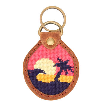 Sunset Surfing Needlepoint Key Fob by Parlour