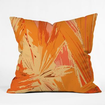 Rosie Brown Palm Explosion Throw Pillow
