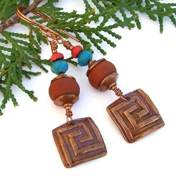 Copper Labyrinth Earrings, Handmade Terracotta Lampwork Turquoise Artisan Spiral Jewelry