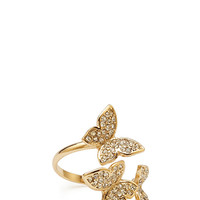 FOREVER 21 Rhinestone Butterfly Ring Gold/Clear One