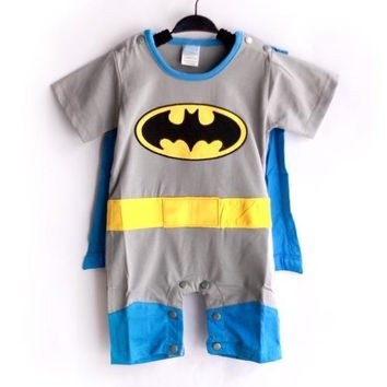 Batman Baby Toddler Grow Short Sleeved Bodysuit Romper Onesuit All Size = 1927937348