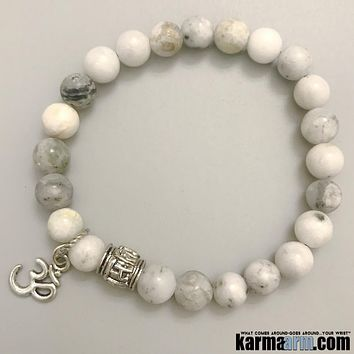 Om Mani Padme Hum Prayer Wheel: Green Earth Jasper | OM Charm | Yoga Chakra Bracelet
