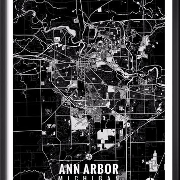 Ann Arbor Michigan Map with Coordinates