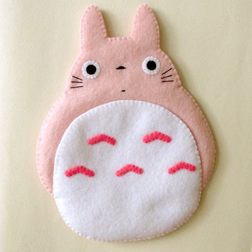Totoro My Neighbour Big Cute Kawaii Pink iPhone Camera Felt Case button closure Fairytale iPhone Samsung Gadgets Cell Phone Case