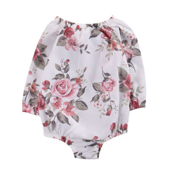 Floral Long Sleeve Infant Baby Girl Kid  Romper Jumpsuit Cotton